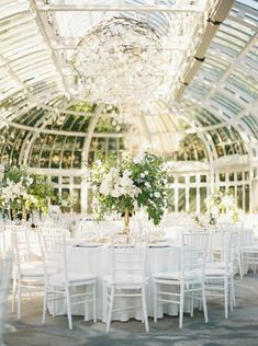 All white wedding reception with towering greenery at Brooklyn Botanic Garden in New York. Dream turned reality by Florist- Denise Fasanello Flowers, Planner- Exquisite Affairs Productions and Photographer- Eric Kelley. Beach Wedding Favors, Bridal Shower Favors, Wedding Reception, Wedding Venues, Wedding Souvenir, Nautical Wedding, Wedding Ideas, Wedding Tables, Wedding Inspiration