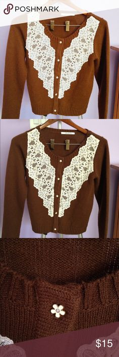 "Brown Lace Cardigan Brown cardigan from Japanese store ""DreamV"". Worn once or twice. Very warm and fuzzy! It feels like a hug when you wear it! Buttons are gold daisies. Should fit around size S to MAYBE M (US standard). DreamV Sweaters Cardigans"
