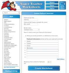 Have you ever tried the Super Teacher Worksheets generator tools? Use them to create your own printable flashcards, multiplication, division, addition, and subtraction worksheets, crossword puzzles, bingo games, and more! #superteacherworksheets #teachertips Subtraction Worksheets, Teacher Worksheets, Grammar Worksheets, Decimal Division, Multiplication And Division, Printable Flashcards, Worksheet Generator, Counting Money, Spelling Lists