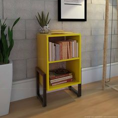 Mesa de Canto/Lateral Wolli Sem Gaveta Amarelo/Preto - Móveis Belo Bookcase, Shelves, Home Decor, Couch Table, Furniture For Living Room, Yellow, Decorating Ideas, Top Drawer, Black