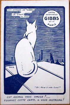 1920s Advertising Card: Cat & Moon - Gibbs Toothpaste/Savon Dentifrice - Paris