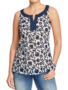 Women's Printed Sleeveless-Gauze Tunics Product Image