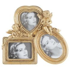 Beautiful frame with three openings in gold colorATOS!