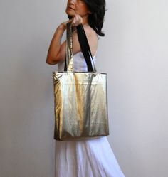 FREE SHIPPING Metallic Gold Tote Bag by lilyshih on Etsy
