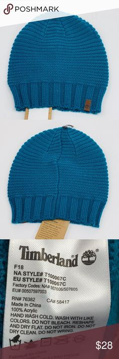 NW Timberland Beanie Hat Teal Blue NWT new with tags Timberland Beanie Hat.  Color is a teal green blue. Last photo is a better true color. b57ccf6962e6