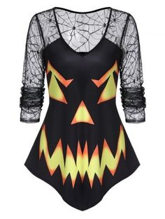 Womens Pumpkin Face Print Spider Web Lace Halloween T-Shirt Casual Blouse Tops Trendy Clothes For Women, Trendy Outfits, Fall Outfits, T Shirts, Casual Shirts, Plus Size Halloween, Pumpkin Faces, Look Chic, Long Tops