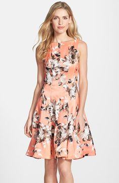 Gabby Skye Floral Print Shantung Fit & Flare Dress available at #Nordstrom