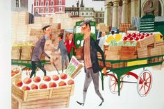 "illustration of vegetable traders in Covent Garden market taken from vintage ""This is London"" book by Miroslav Sasek"