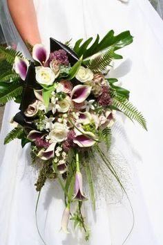 The Flower Magician: Cascade Wedding Bouquet in Vintage Grape & Mushroom Shades