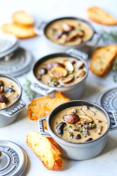 Creamy Roasted Mushroom Soup - So creamy, rich, hearty and comforting! The secret to this soup is roasting the mushrooms in garlic and fresh thyme first! Roasted Mushrooms, Stuffed Mushrooms, Stuffed Peppers, Mini Cocotte Recipe, Mini Lasagne, Vegetarian Recipes, Cooking Recipes, Veg Recipes, Dinner Recipes