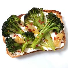 Toast with Roasted Broccoli, Ricotta & Garlic Olive Oil  Save Print Inspired by Eating Well Magazine, I used ricotta instead of goat cheese and broccoli instead of broccolini because that is what they had in-store today. Author: Healthy Gluten-Free Family Ingredients Broccoli olive oil salt pepper garlic, sliced thin ricotta gluten-free toast of …