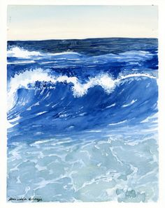 Waves ORIGINAL watercolor painting 8X10 by PriscillaGeorgeArt