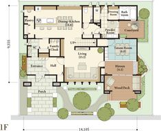 Chinese Courtyard, Japanese House, Home Design Plans, Art And Architecture, My Dream Home, House Plans, Floor Plans, House Design, Flooring