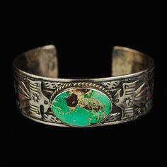 Vintage Navajo Sterling Silver Turquoise Cuff Bracelet  $265.00