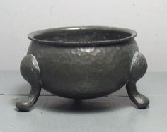 Antique Pewter Salt Cellar/Antique Hammered Pewter by SukiandPolly