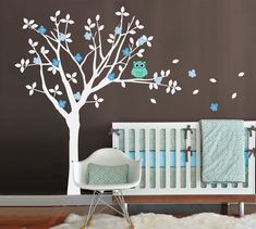 Baby Nursery Vinyl Wall Decals, Tree and Owl Wall Decal Set, One Color Tree. $90.00, via Etsy.