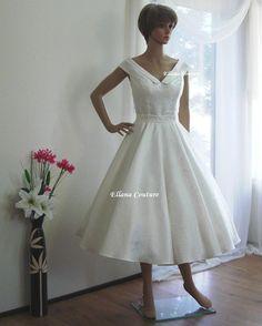 Vivian  Vintage Inspired Tea Length Wedding Dress by EllanaCouture, $425.00