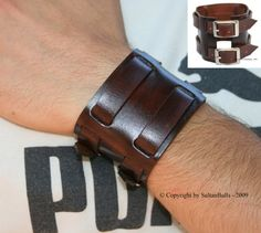 Genuine leather bracelet first class leather cuff men's bracelet wrist band 2 straps leather wristband brown