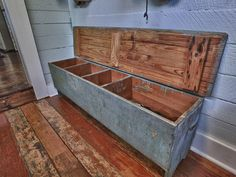 With two bulldogs and plenty of snowy boots, I've always wanted to have a mudroom! This one designed by Kim Whitley-Gaynor of Living Vintage would be a dream to have! Primitive Furniture, Rustic Furniture, Painted Furniture, Diy Furniture, Mudroom Storage Bench, Bench With Storage, Rustic Storage Bench, Mudroom Benches, Diy Bench