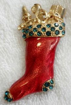 Brooch Christmas Stocking Pin Red Enamel Green Rhinestone Gold Tone Toy Filled