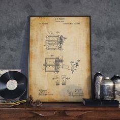 Fishing Reel Patent Print Gift for Fisherman Nautical
