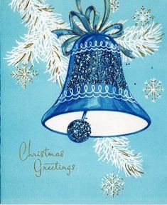 Vintage Christmas card with blue bell design Images Vintage, Vintage Christmas Images, Old Christmas, Old Fashioned Christmas, Christmas Scenes, Retro Christmas, Christmas Bells, Vintage Holiday, Christmas Pictures