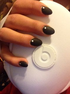 Matte black oval nails
