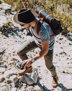 Travel men look with hat