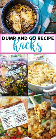Dump and Go Recipe Hacks - easy dump recipes, crock pot recipes, and simple 1 pot recipe ideas.