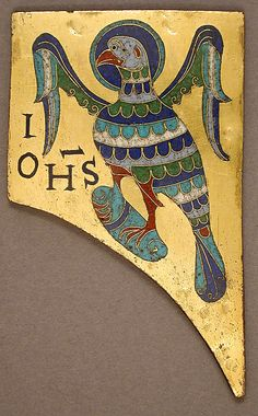 Plaque with the Symbol of the Evangelist John, Conques, France circa 1100 - copper: cut and gilt; champlevé and cloisonné enamel: black, lapis and lavender blue, turquoise, green, red, white, pinkish white.