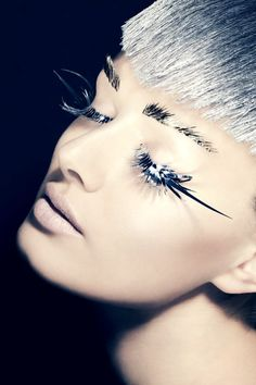 silver eye lashes and hair silver eyebrows beauty makeup