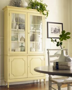 Maybe a soft yellow for my china cabinet makeover? Refurbished Furniture, Paint Furniture, Furniture Projects, Furniture Makeover, Home Projects, Home Furniture, Coastal Furniture, Yellow Painted Furniture, Cheap Furniture