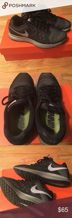 Nike Woman's Pegasus Black and grey Nike Pegasus woman's size 7 in excellent condition only been worn a couple of times. The inside label is a little worn but they still in wonderful condition. These shoes are water repellant and very comfortable! Nike Shoes Athletic Shoes