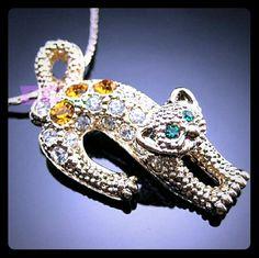 Swarovski Crystal Leopard pendant necklace 18k gold , swarovski crystal lenght: 410+47mm approx Gorgeous Jewelry Necklaces