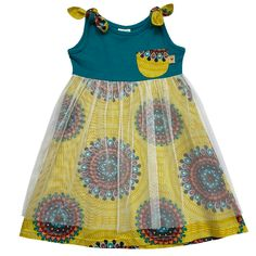 Prettiest Cotton Day-dress with a snuggly soft knit top and funky wax coloured skirt covered with a layer of gauged tulle mesh over. Fabric: Cotton and Soft Tulle Mesh Print: All Over Fit: Easy fit Tulle Dress, Knit Dress, Day Dresses, Summer Dresses, Baby Girl Boutique, Pet Clothes, Chambray, Kids Outfits, Kids Clothing