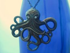 Octopus Pendant Necklace by TheGoodLifebyKatie on Etsy, $14.00