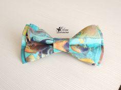 Купить Бабочка галстук с рыбами, хлопок - бирюзовый, рисунок, рыба, рыбы, для рыбака, подарок, бабочка