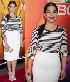 """America Ferrera in Conservative Outfit and Bionda Castana """"Dekota"""" Lace-Up Pumps"""