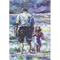 Paddling with Granda - Limited edition print of old man and child paddling in the sea from a painting by Ardara artist Stephen Bennett- limited to a run of 200 prints each signed and numbered by the artist. Wild Atlantic Way, Irish Art, Donegal, Artist Gallery, Beach Scenes, Book Of Life, Limited Edition Prints, Sea, Art Prints