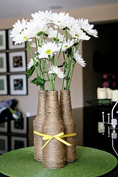 DIY home decor crafts :DIY Vase : (diy tutorial giveaway) upcycled izze bottle flower vase...centerpiece for Fall