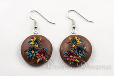 - SOLD - Woodland Brown Flower Round Dangle Earrings  by DeidreDreams, $40.00