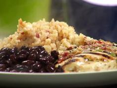 Salsa Marinated Chicken with Mexican Rice Recipe : Rachael Ray : Recipes : Cooking Channel Fiesta Rice Recipe, Mexican Rice Recipes, Mexican Dishes, Marinated Chicken, Refried Beans, New Recipes, Favorite Recipes, Duck Recipes, Easy Recipes