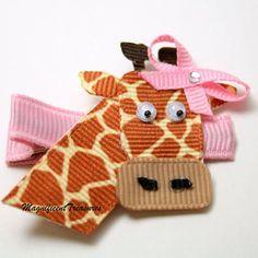 Giraffe Ribbon Sculpture Hair Clip. $5.00, via Etsy.