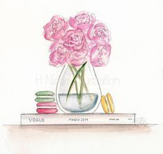 Peonies & Vogue Print by HNIllustration on Etsy, $10.00