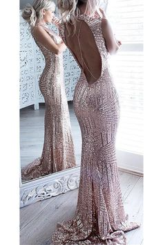 f7fde7c969 Sparkly Long Open Back Mermaid Prom Dresses For Teens
