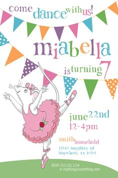 Angelina Ballerina Theme - Birthday Invitation- DIY Printable Invitation - By Cici and Bobo on Etsy, $9.99