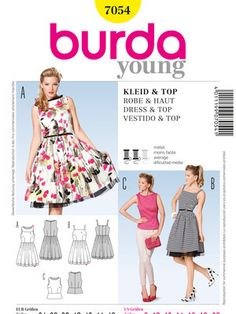 Schnittmuster: Retro-Kleid / Top - Damen - burda style