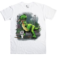 This t-shirt illustration is inspired by the movie Jurassic Park. It features Rex, the large excitable plastic green Tyrannosaurus, who suffers from anxiety, an inferiority complex, and the concern he is not scary enough. Rex has made his way on to the Jurassic Park film set to try and represent the T-Rex from the movie; he is reenacting the scene where the T-Rex eats the man on the toilet, but he still pulls his goofy face. This is not a licensed product.