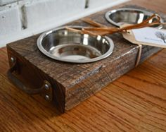 Reclaimed Wood Pet Platter - modern - pet accessories - other metro - by Reclaimed Things, LLC Woodworking Furniture, Woodworking Projects, Diy Projects, Reclaimed Wood Projects, Salvaged Wood, Got Wood, Pet Feeder, Wood Creations, Wooden Crafts