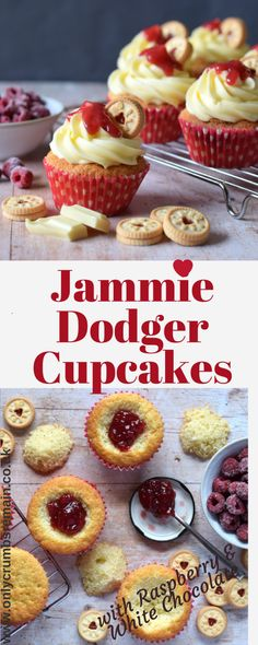 Our Jammie Dodger Cupcakes are perfect for those who love the popular sandwich biscuit. The cupcakes incorporate the tasty raspberry & white chocolate flavour combo for an extra yummy pimped up treat! Cupcake Flavors, Cupcake Recipes, Baking Recipes, Dessert Recipes, Baking Ideas, Fun Cupcakes, Cupcake Cakes, Cup Cakes, Teacher Cupcakes